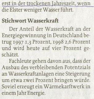 anteil der wasserkraft in deutschland